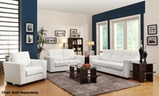 Enright White Leather Sofa and Loveseat Set