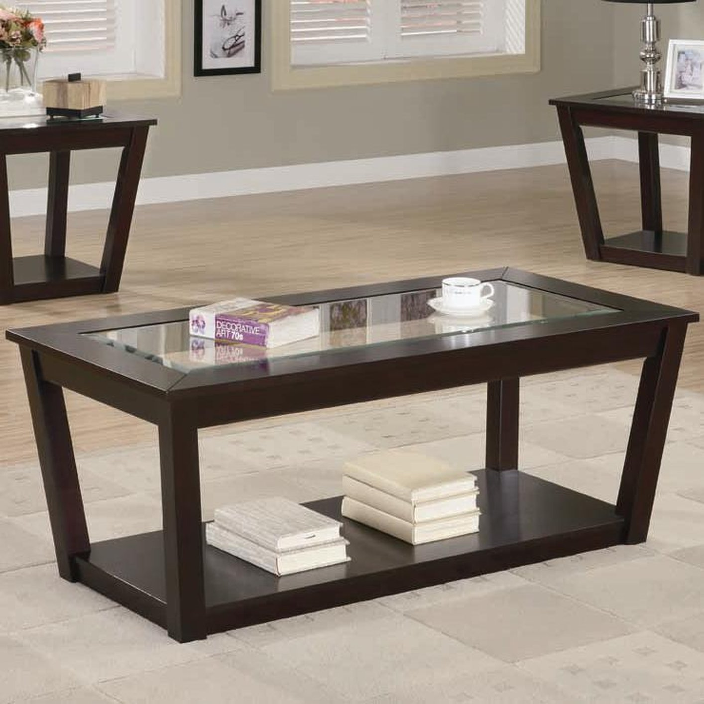 Fenmore brown glass coffee table set steal a sofa for Glass living room table