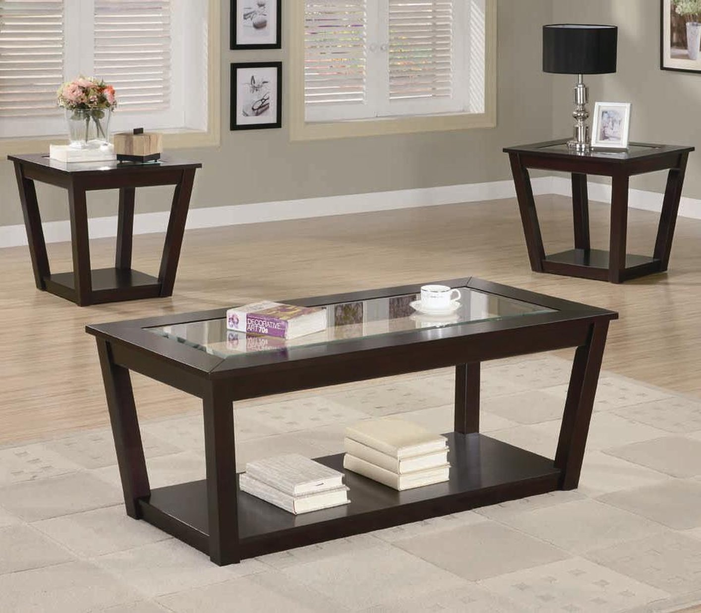 Superior Fenmore Brown Glass Coffee Table Set