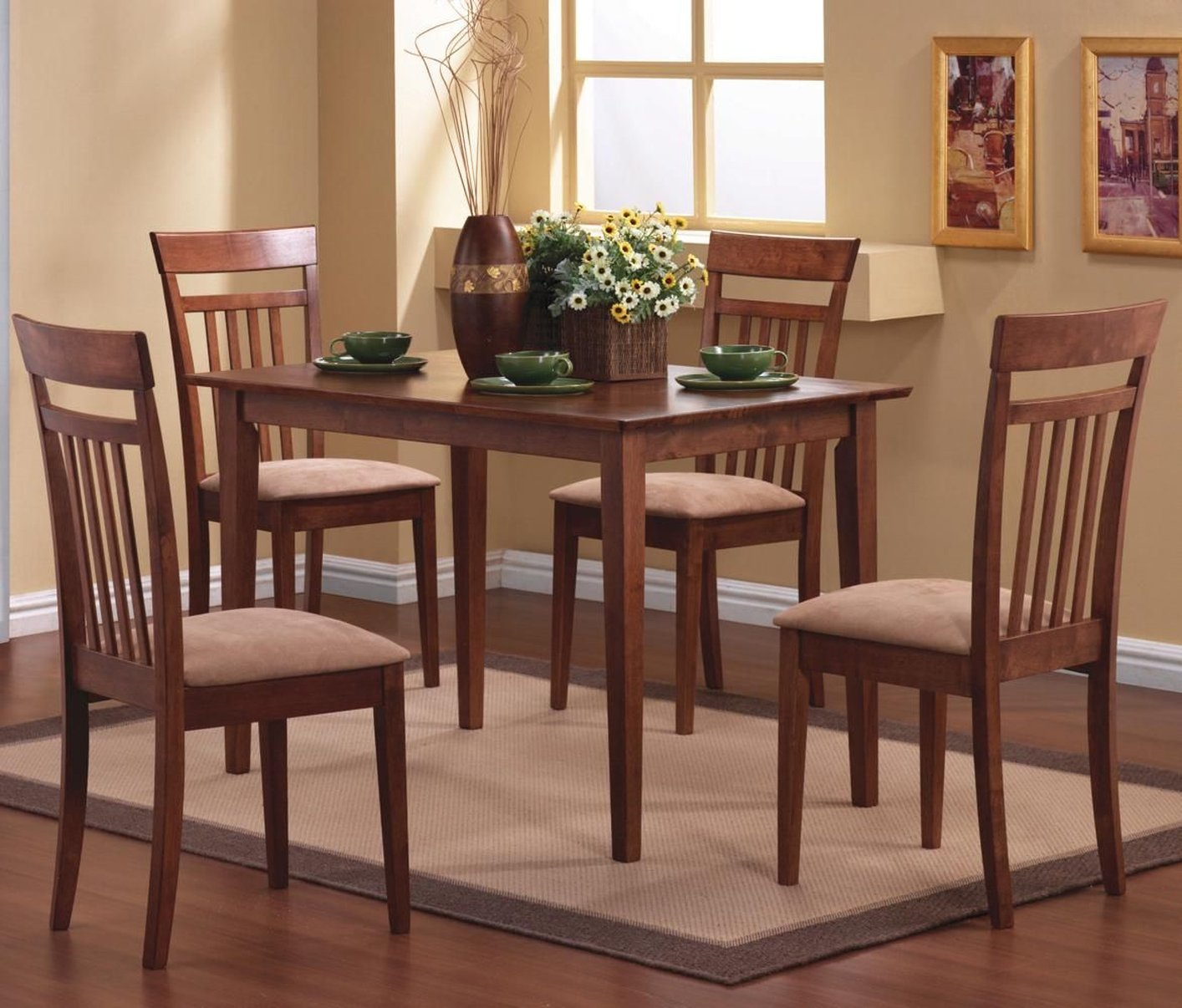 coaster filip brown wood 5 piece dining set in los an