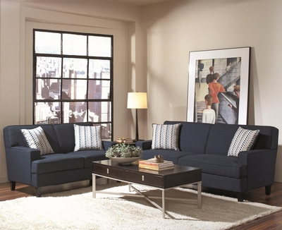Finley Blue Fabric Sofa and Loveseat Set