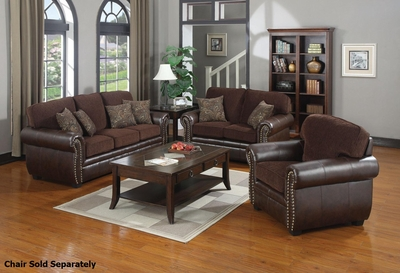 Florence Brown Fabric Sofa and Loveseat Set