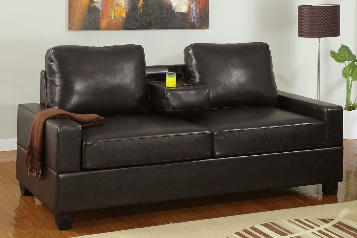 Poundex Fuller F7509 Brown Faux Leather Loveseat In Los Angeles Ca
