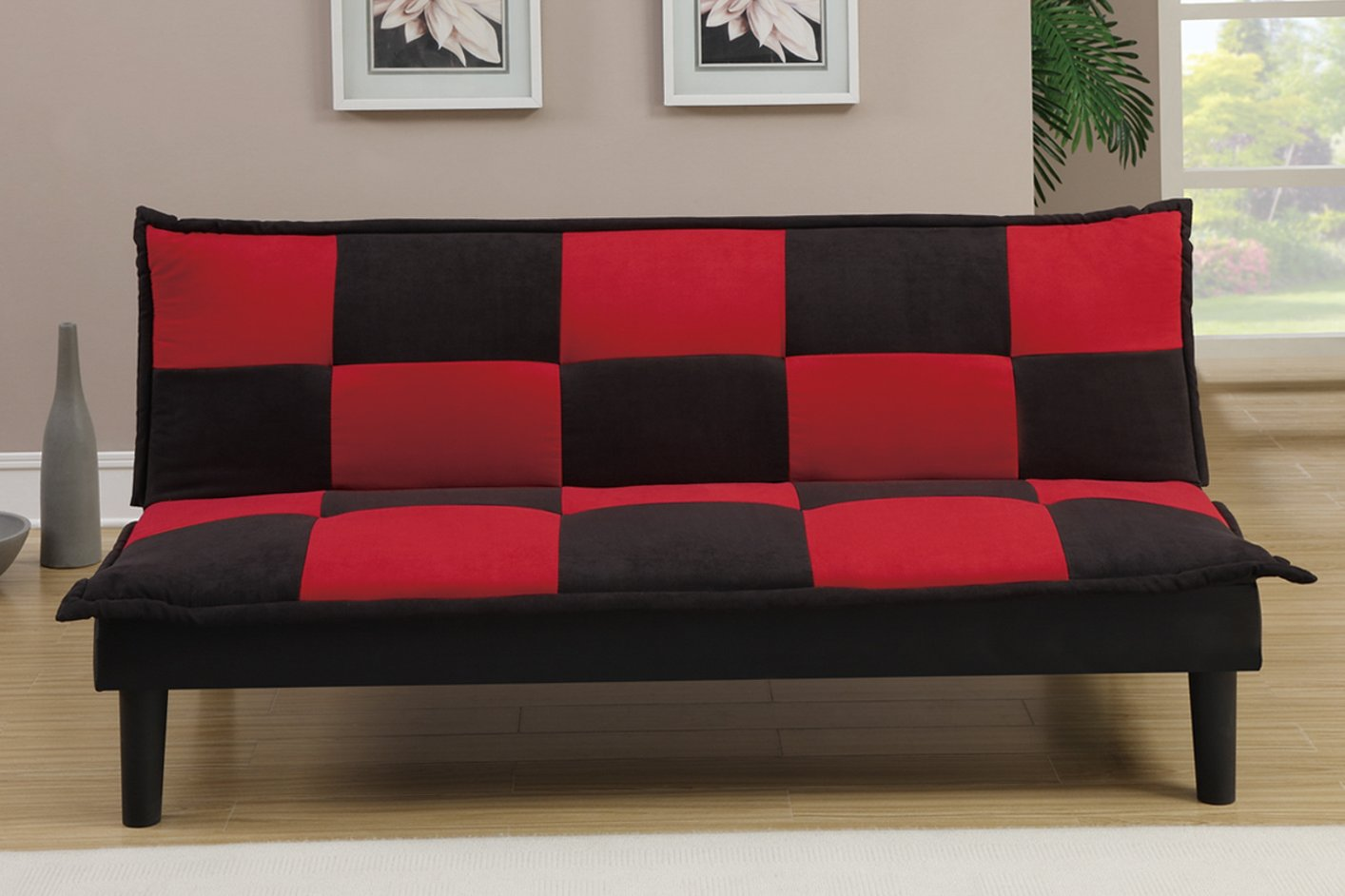 Red fabric twin size sofa bed steal a sofa furniture for Couch and loveseat