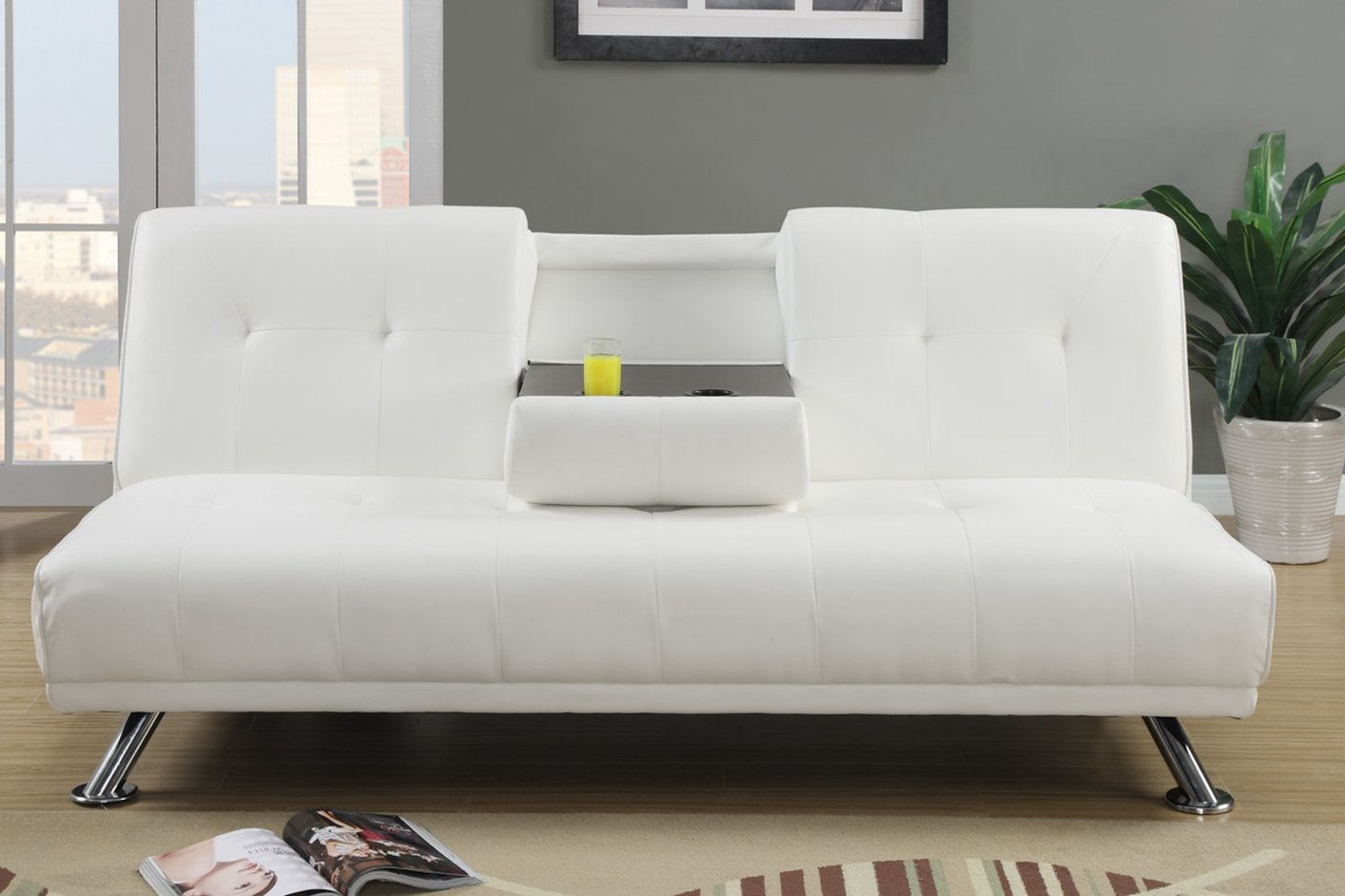 Poundex F7029 White Twin Size Leather Sofa Bed Steal A Sofa Furniture Outlet Los Angeles Ca