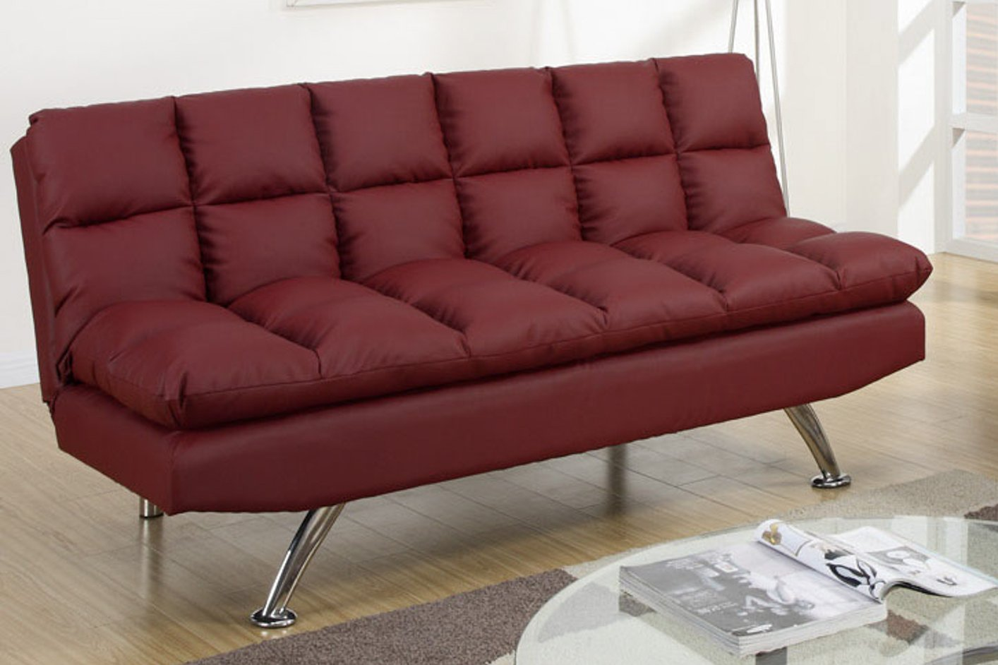 Poundex F7017 Red Twin Size Leather Sofa Bed Steal A Sofa Furniture Outlet Los Angeles Ca
