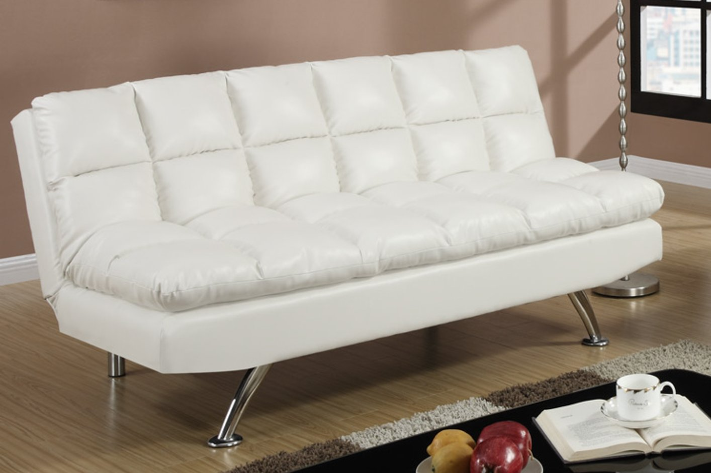 Poundex F7015 White Twin Size Leather Sofa Bed Steal A Sofa Furniture Outlet Los Angeles Ca