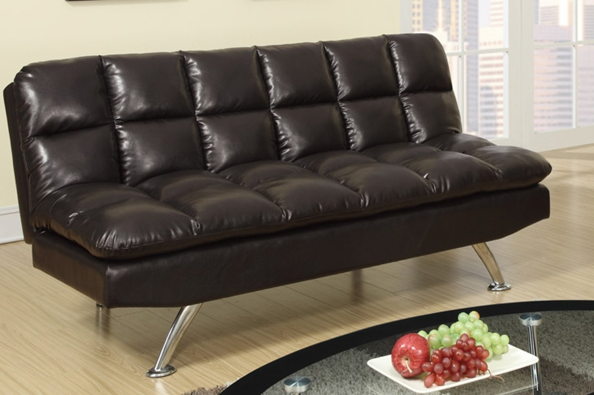 Poundex f7011 brown twin size leather sofa bed steal a for Twin sofa bed