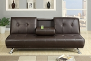 Brown Leather Twin Size Sofa Bed