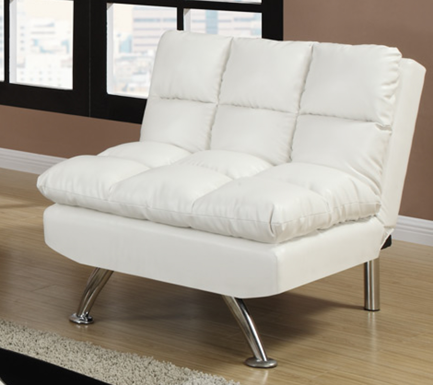 White leather adjustable chair steal a sofa furniture for Furniture 90036