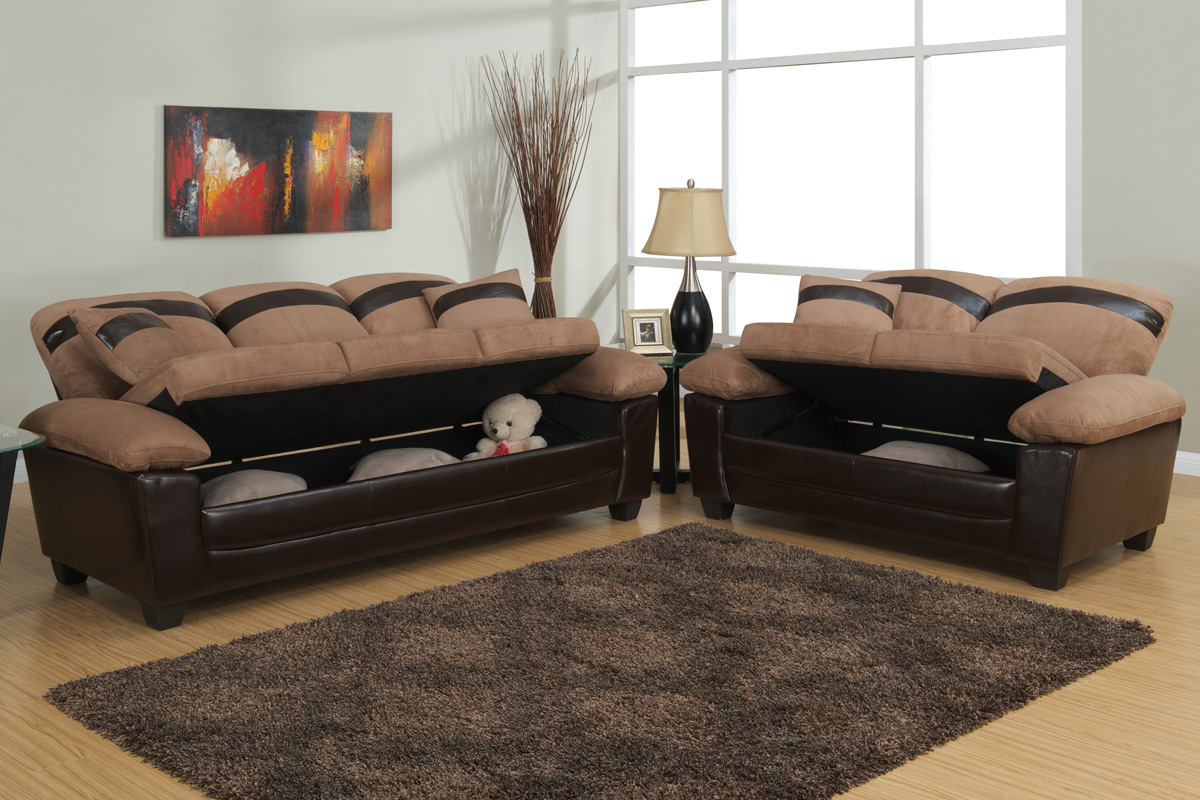 Poundex Gabe F7573 Beige Leather Sofa And Loveseat Set