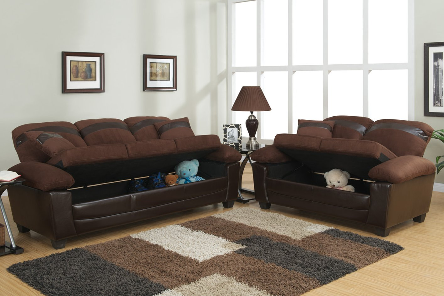 Poundex gabe f7572 brown fabric sofa and loveseat set with storage steal a sofa furniture for Sofa moderne marron gris
