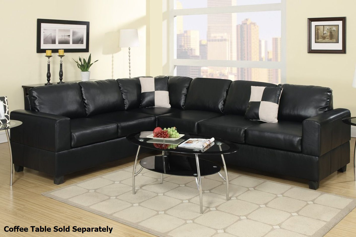Poundex playa f7630 black leather sectional sofa steal a - Modelos de sofas ...