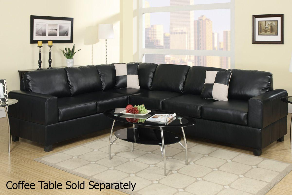 Superbe Playa Black Leather Sectional Sofa