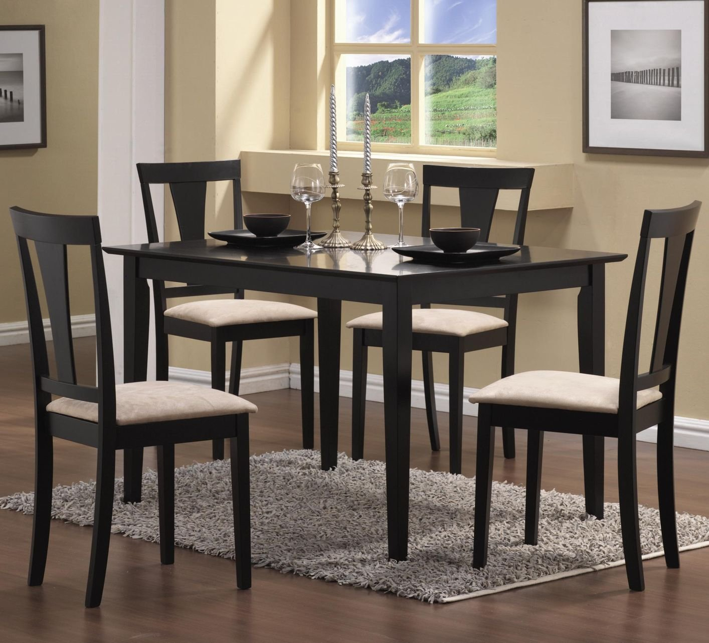 Coaster 150181n black fabric dining table and chair set for Black fabric dining room chairs