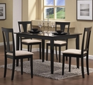 Black Fabric Dining Table and Chair Set