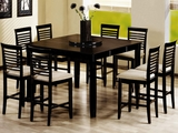 Geneva Warm Cappuccino Wood Counter Height Dining Set