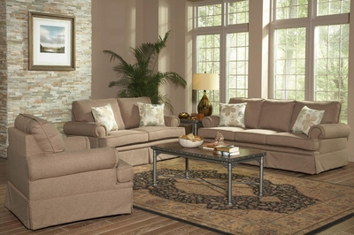 Genevieve Sandy Brown Fabric Sofa And Loveseat Set