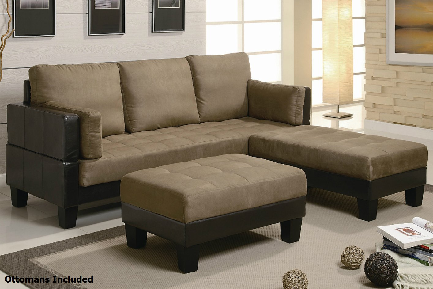 Coaster 300160 brown fabric sectional sofa and ottoman for Brown fabric couch