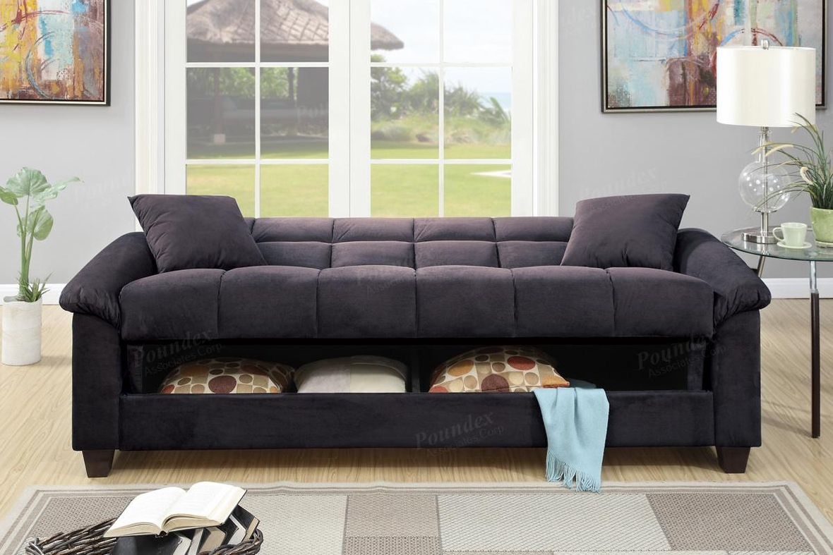 Poundex Gertrude F7888 Black Fabric Sofa Bed Steal A Sofa Furniture Outlet Los Angeles Ca