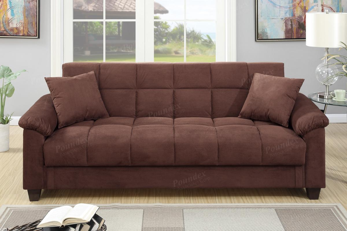 Gertrude Brown Fabric Sofa Bed