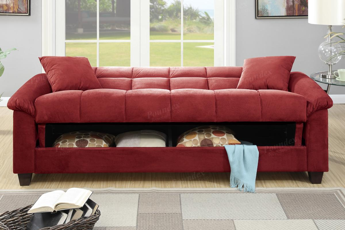 Futon sofa bed red -  Gertrude Red Fabric Sofa Bed