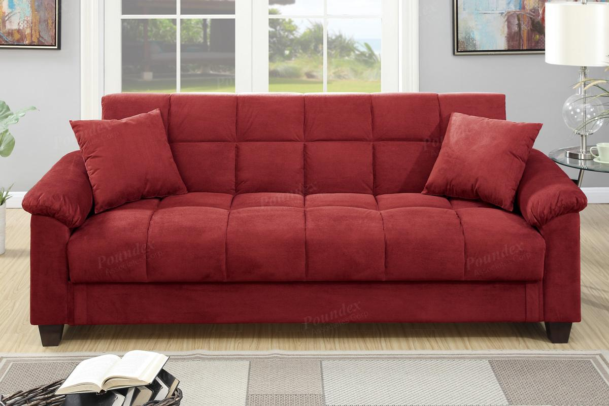 Red fabric sofa bed steal a sofa furniture outlet los for Red and black sofa bed