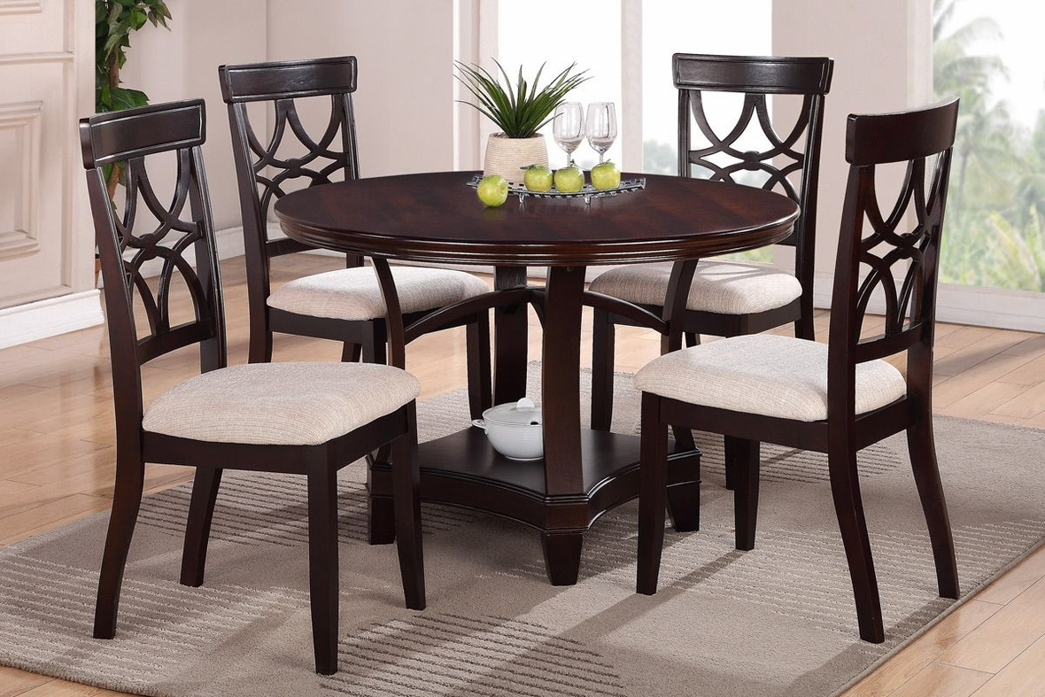 Poundex gracie f1221 f2195 brown wood dining table set in for Espresso dining table