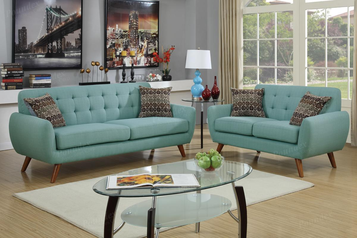 Green Fabric Sofa and Loveseat Set - Steal-A-Sofa Furniture Outlet ...