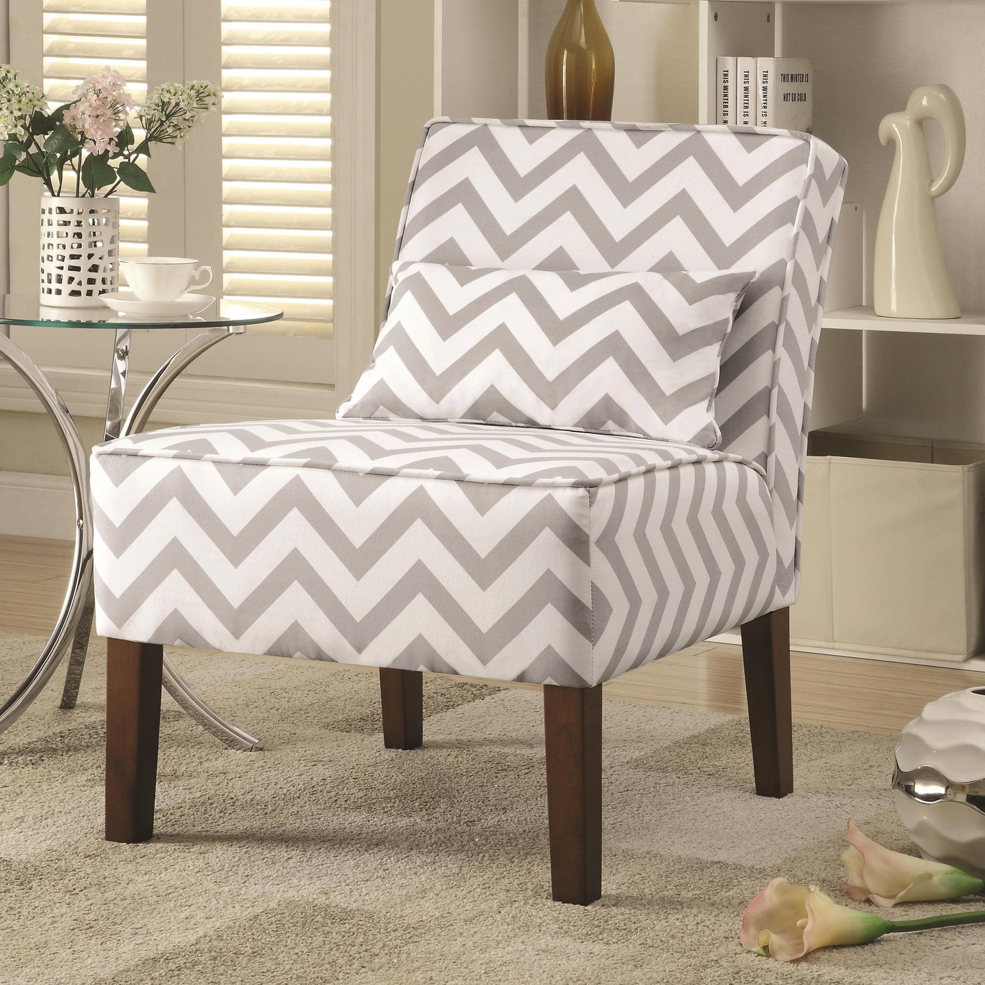 Grey Patterned Accent Chair Awesome Decoration