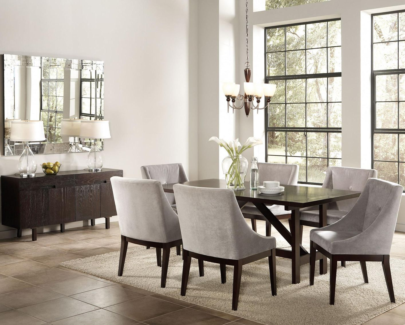 Grey fabric accent chair steal a sofa furniture outlet los angeles ca - Grey fabric dining room chairs designs ...