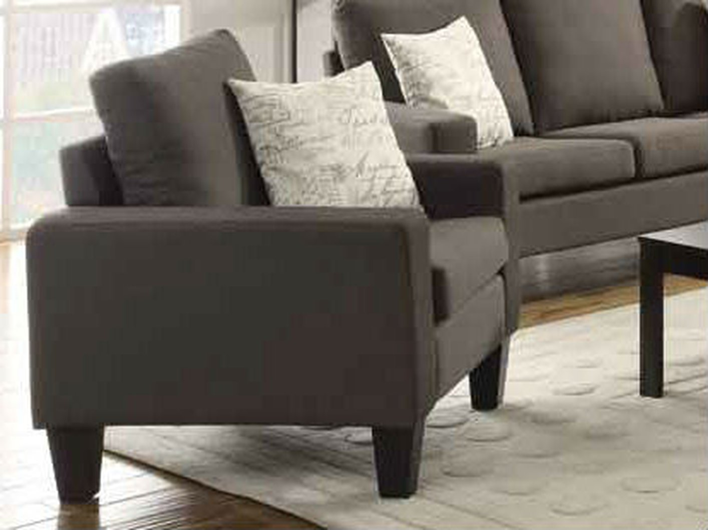 Coaster bachman 504766 grey fabric chair steal a sofa for Furniture 90036
