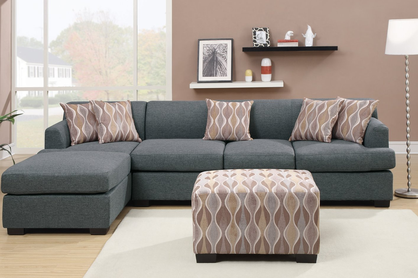 Grey Fabric Chaise Lounge Steal A Sofa Furniture Outlet
