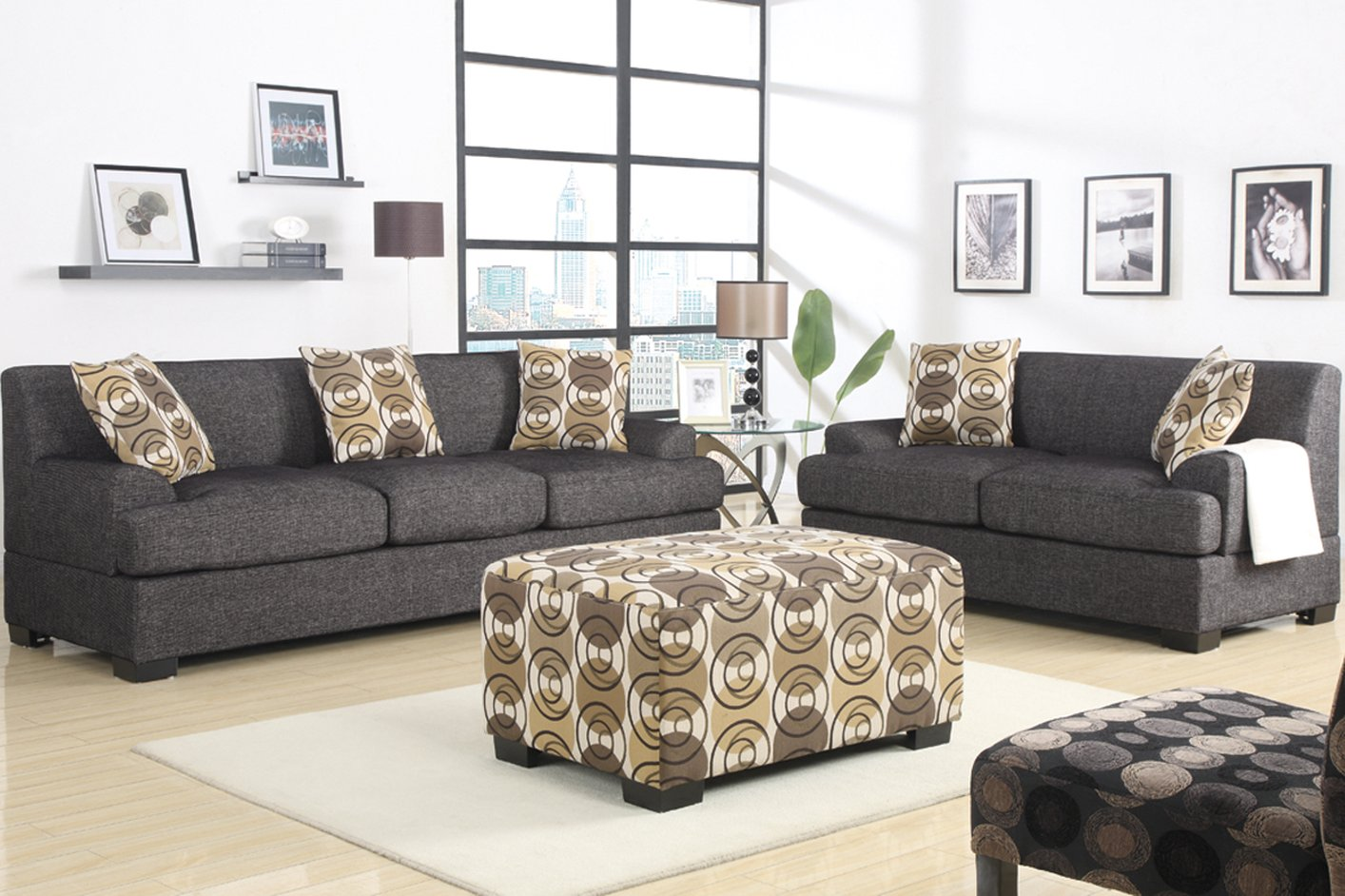 Grey Fabric Chaise Lounge