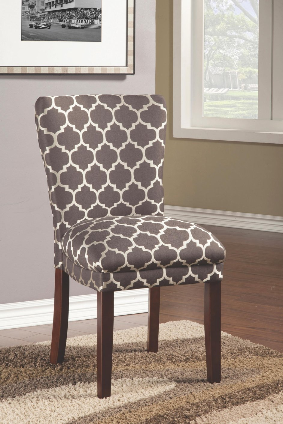 Coaster 104044 grey fabric dining chair steal a sofa for Fabric dining room chairs