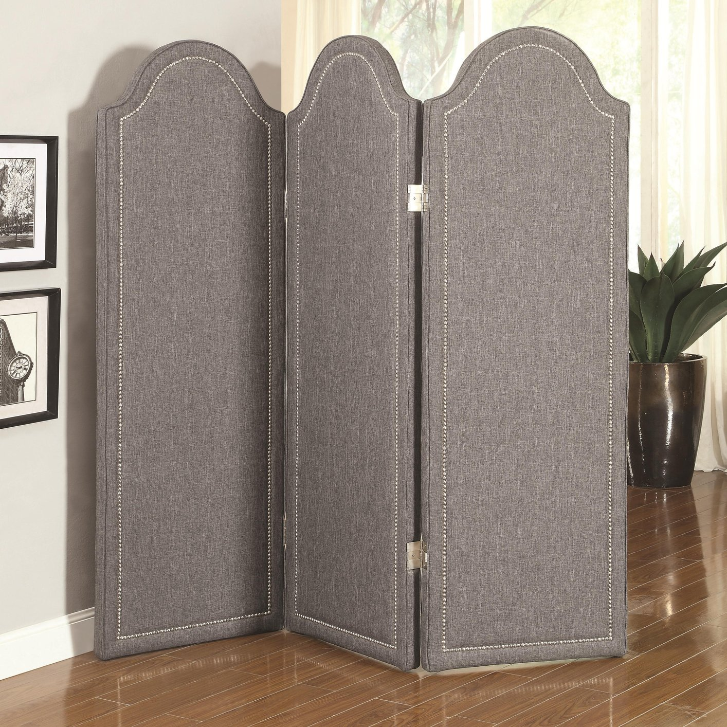 Grey Fabric Folding Screen Steal A Sofa Furniture Outlet