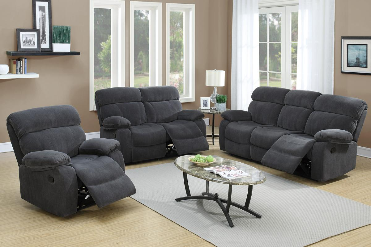 Poundex F6788 Grey Fabric Reclining Sofa - Steal-A-Sofa Furniture ...