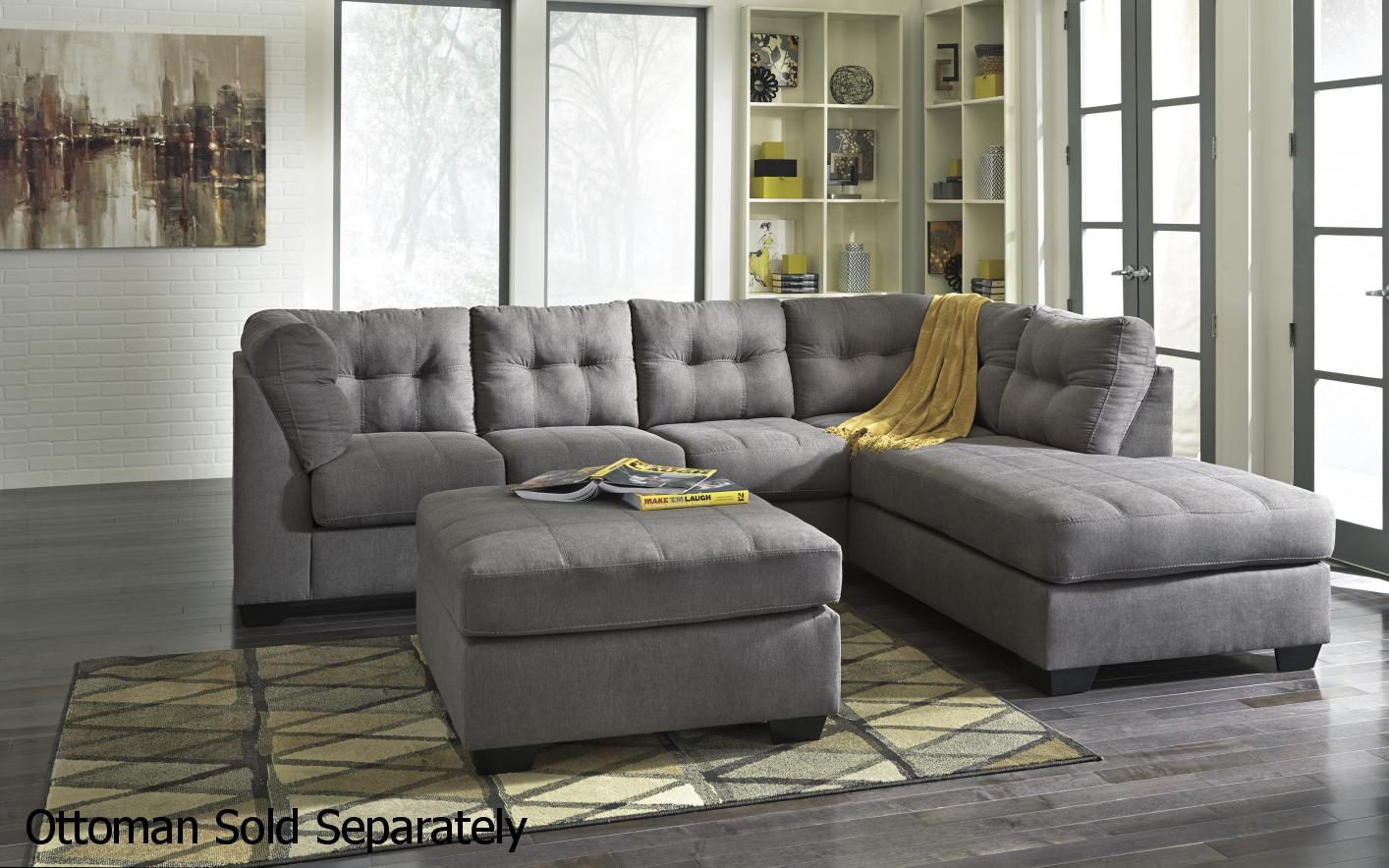 Charming Grey Fabric Sectional Sofa