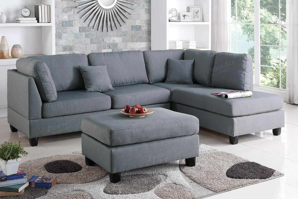 Grey Fabric Sectional Sofa and Ottoman - Steal-A-Sofa Furniture ...