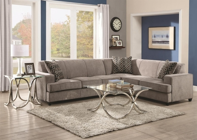 Grey Fabric Sectional Sleeper Sofa