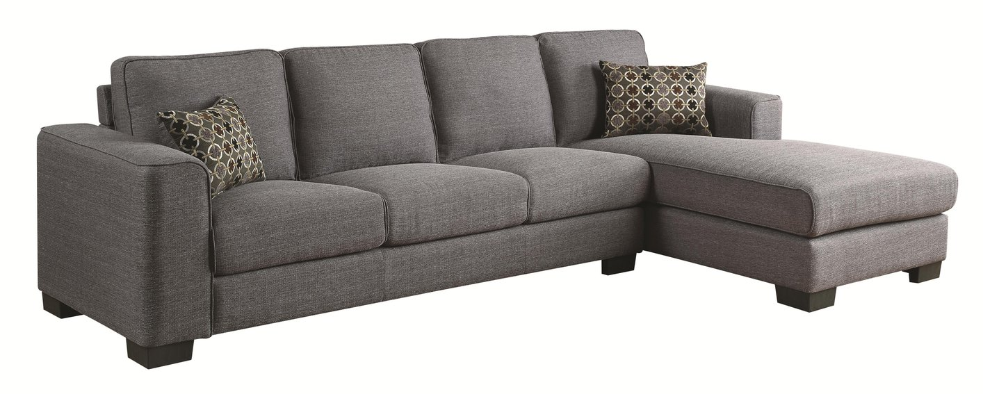 Coaster Norland 500311 Grey Fabric Sectional Sofa Steal