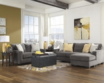 Grey Fabric Sectional Sofa and Loveseat