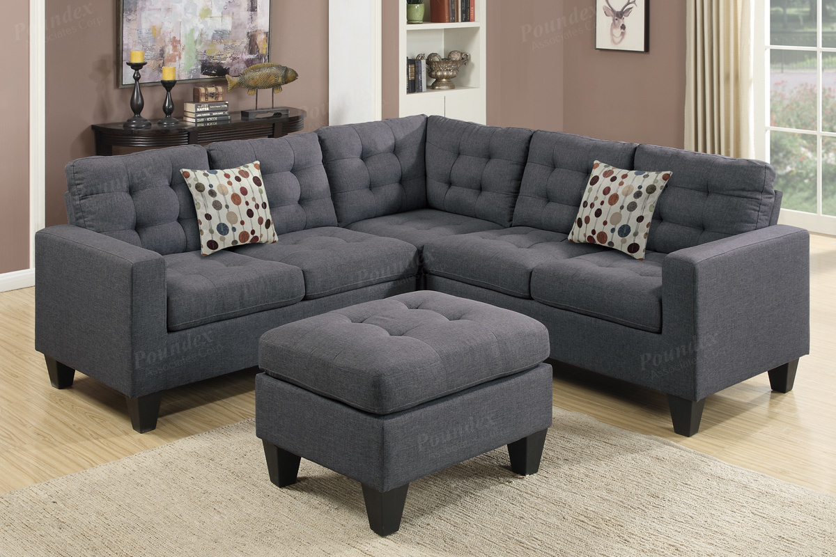 Grey Fabric Sectional Sofa And Ottoman Steal A Sofa