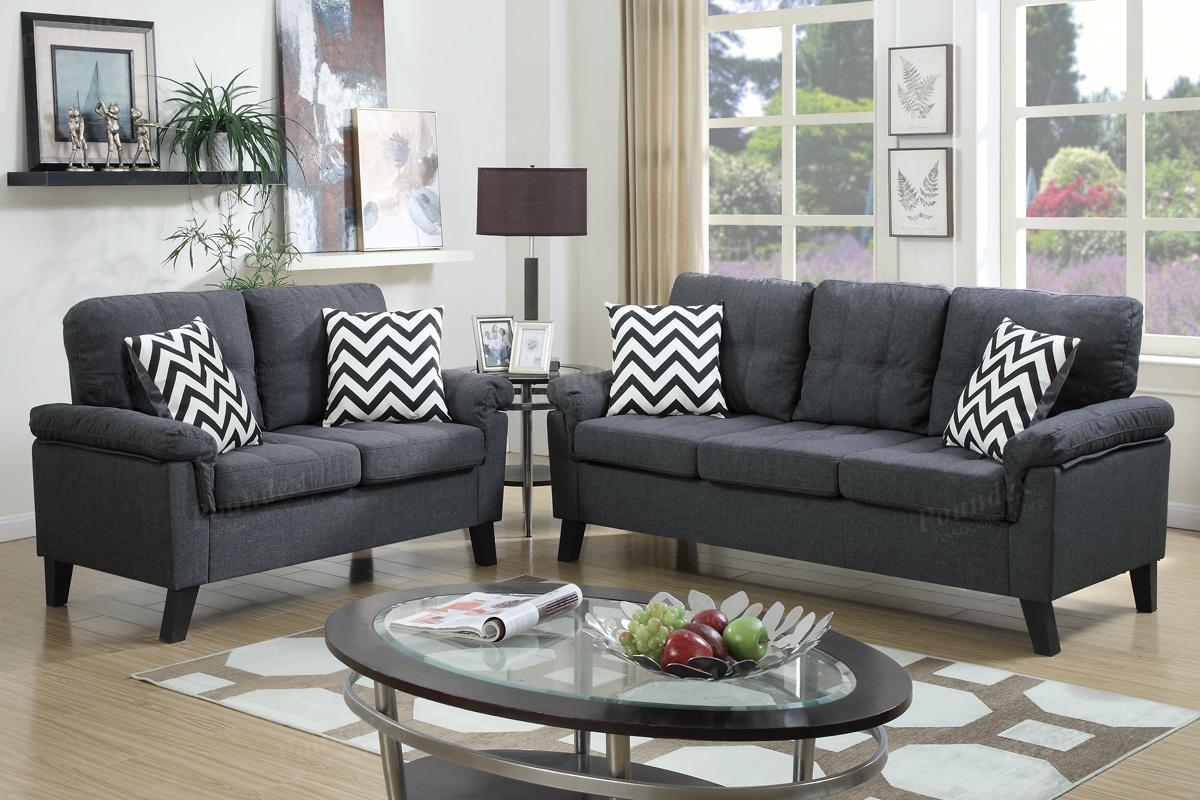 Aron Grey Fabric Sofa And Loveseat Set