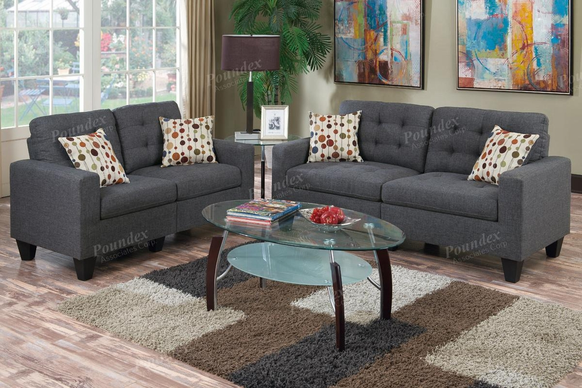 Grey Fabric Sofa And Loveseat Set   Steal A Sofa Furniture Outlet Los  Angeles CA
