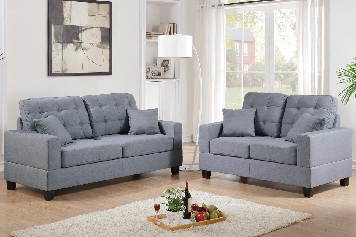 Anse Grey Fabric Sofa And Loveseat Set