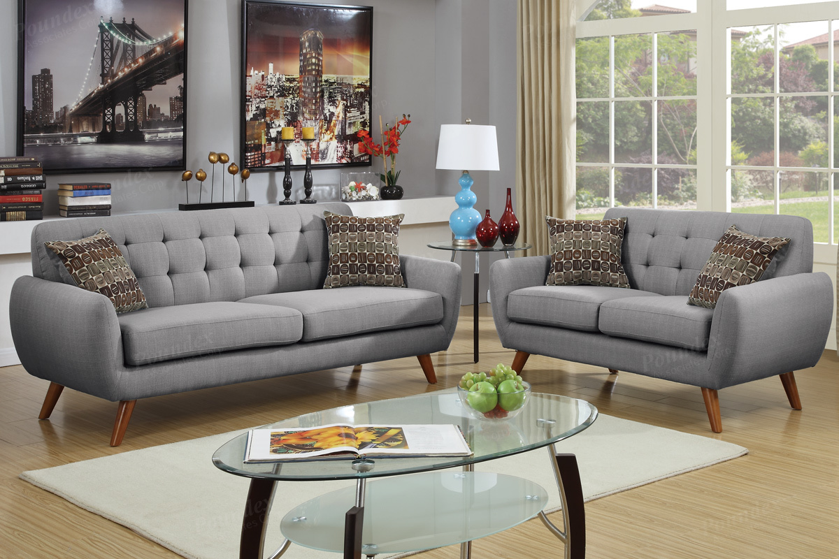 Cosmo Grey Fabric Sofa And Loveseat Set
