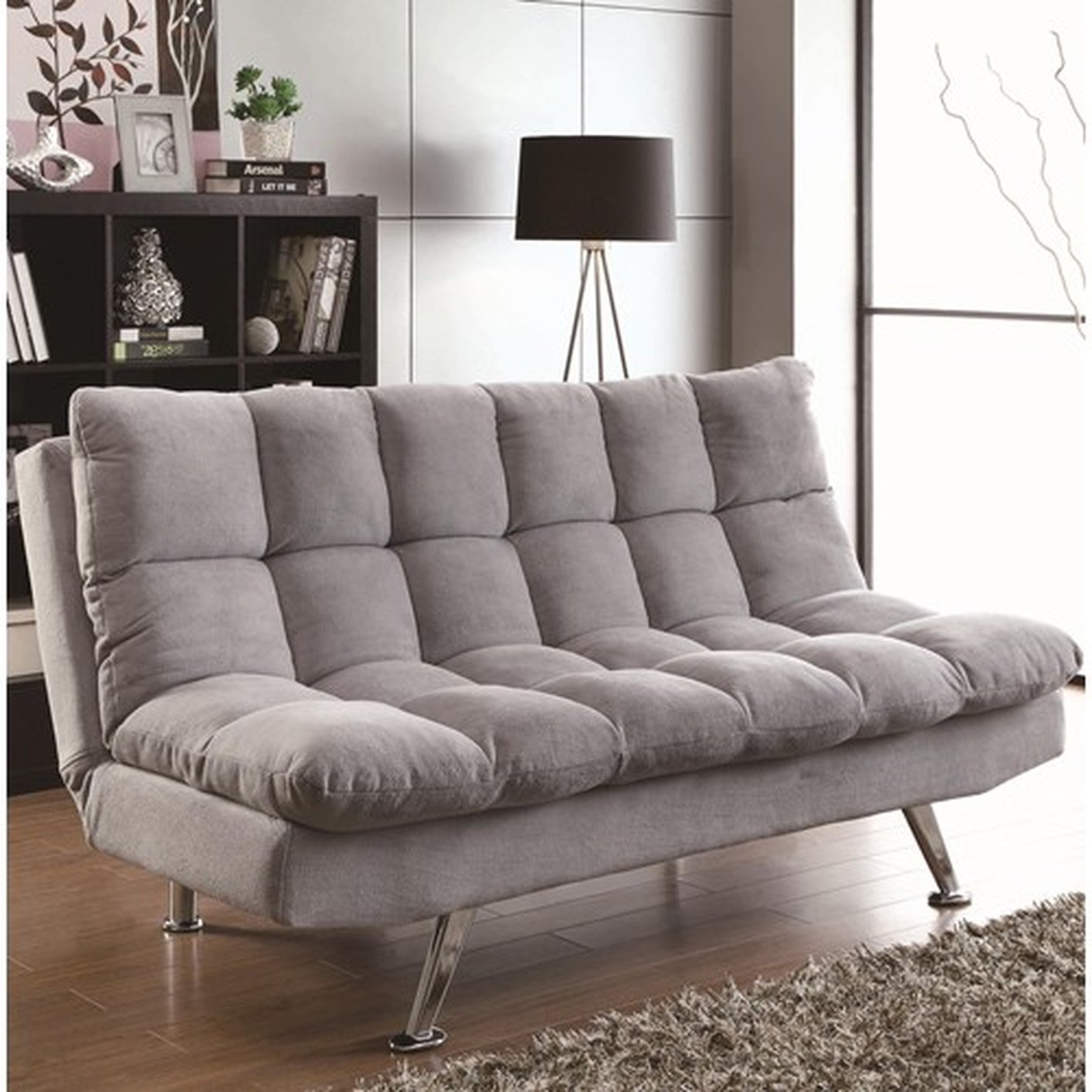 Coaster 500775 grey fabric sofa bed steal a sofa for Sofa bed outlet