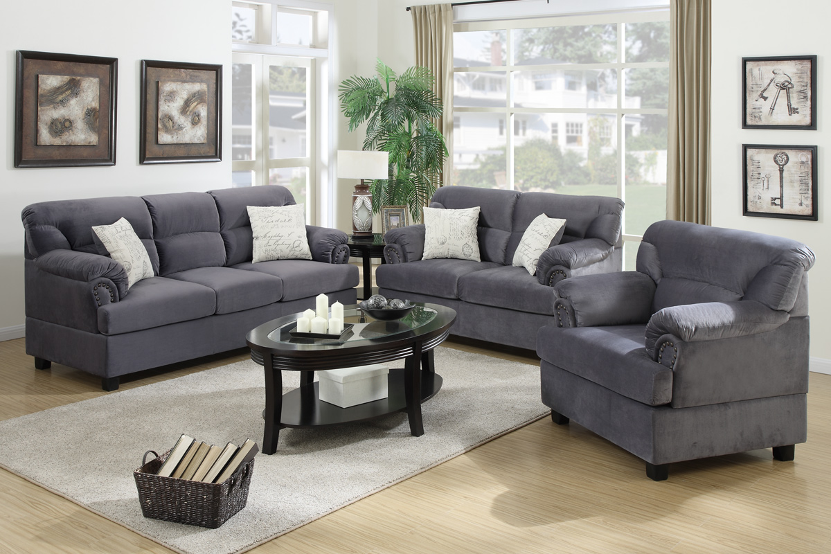 Notus Grey Wood Sofa Loveseat And Chair Set
