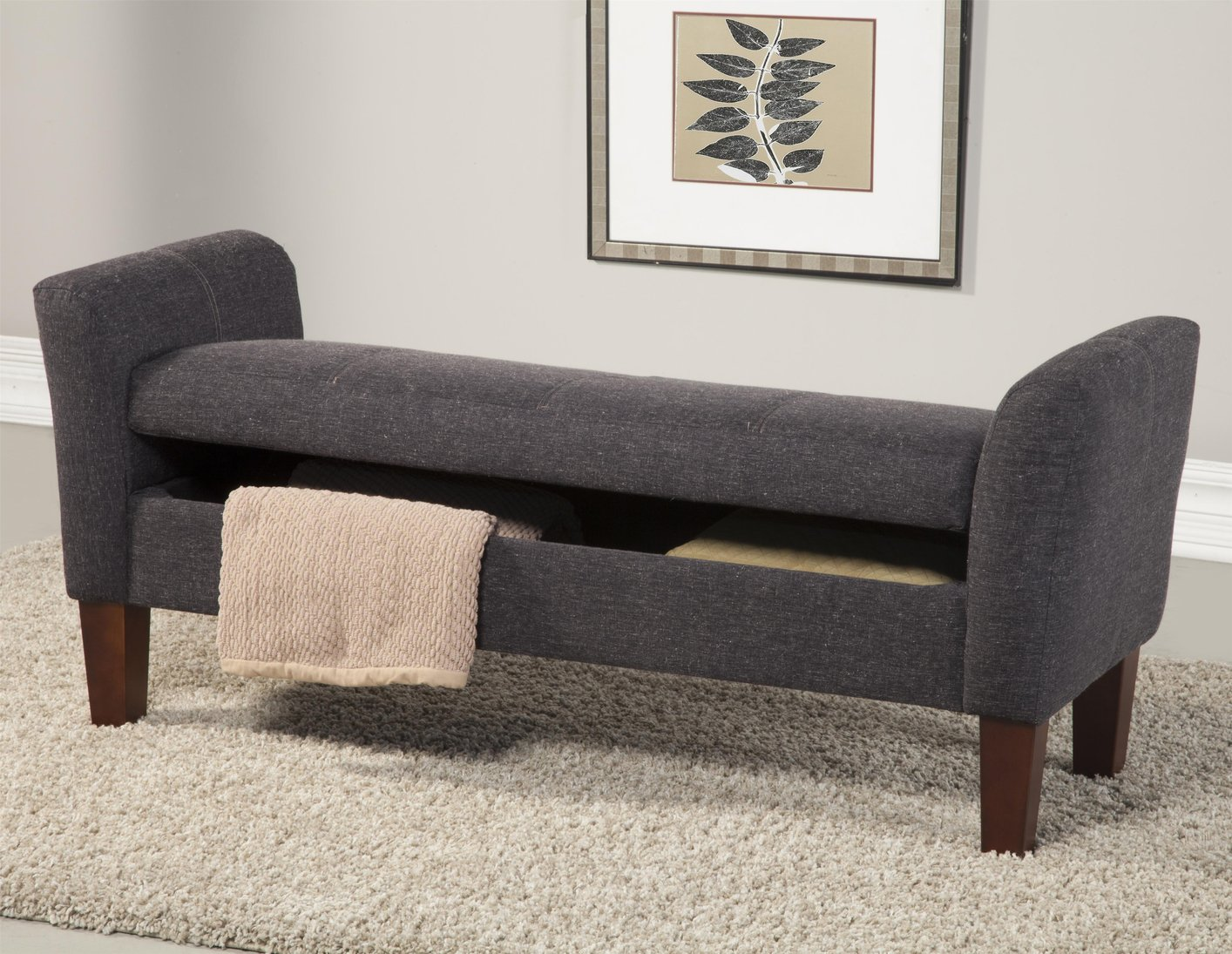 Bedroom bench with arms - Grey Fabric Storage Bench